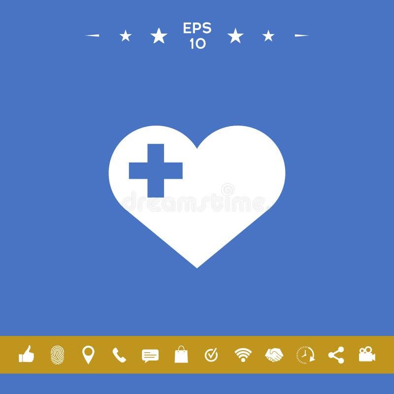 Serce z Medycznym krzyżem ilustracji