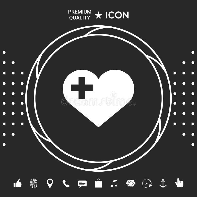 Serce z Medycznym krzyżem Graficzni elementy dla twój designt ilustracji