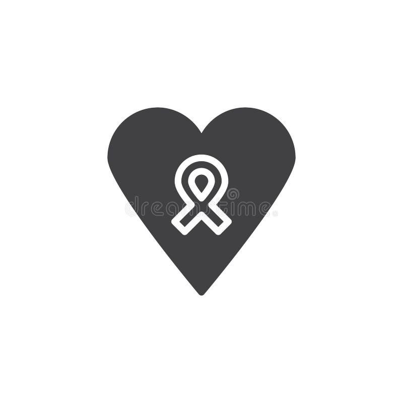 Serce z nagrody tasiemkową wektorową ikoną ilustracja wektor