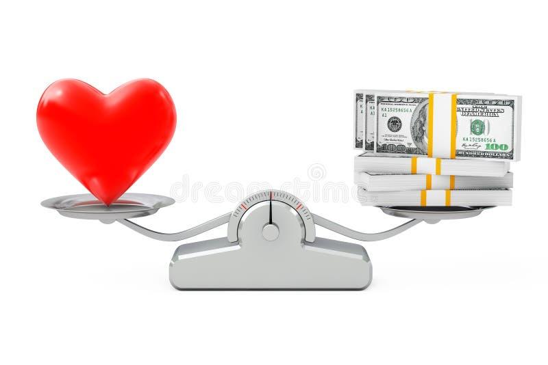 Serce z pieniądze równoważeniem na Prostej Ważącej skala 3D rende royalty ilustracja