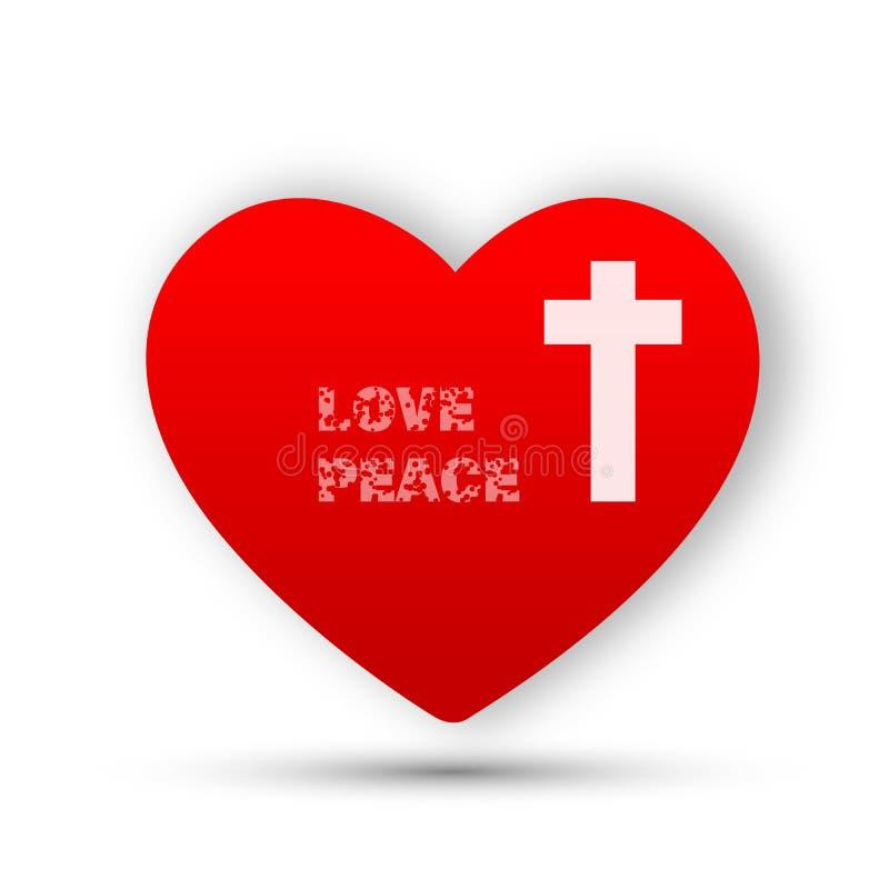 Serce z przecinającego miłość pokoju loga kościelną ikoną na białym tle royalty ilustracja