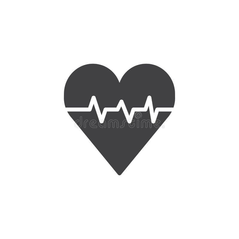 Serce z puls ikony wektorem royalty ilustracja