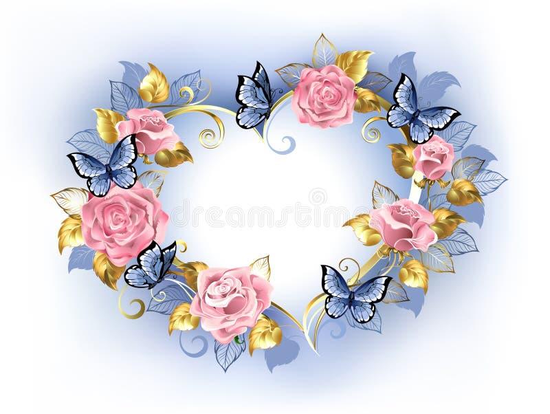 Serce z różowymi różami na białym tle royalty ilustracja
