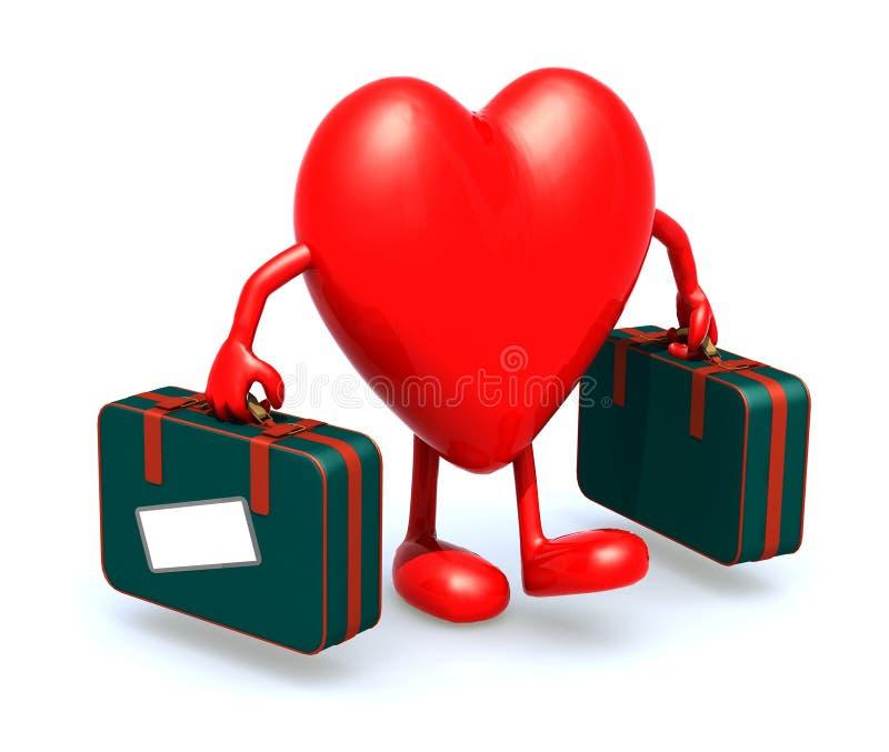 Serce z rękami i nogi który biorą walizkę ilustracja wektor