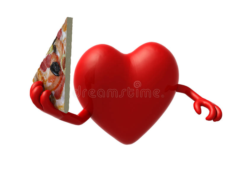 Serce z rękami i plasterek pizza royalty ilustracja