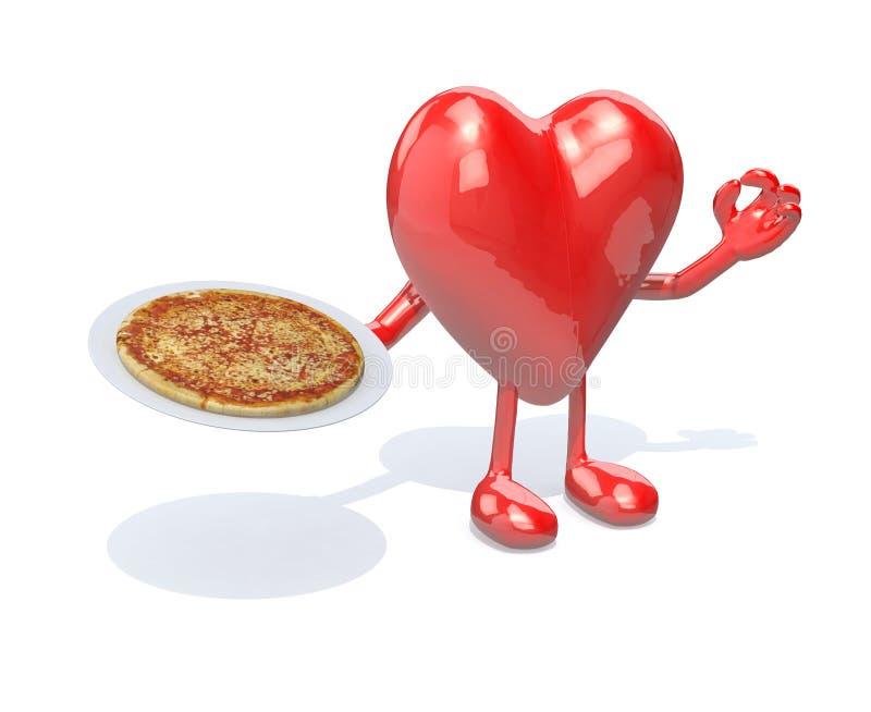 Serce z rękami, nogami i naczyniem pizza na ręce, royalty ilustracja