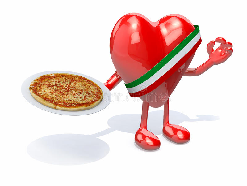 Serce z rękami, nogami i naczyniem pizza na ręce, ilustracji