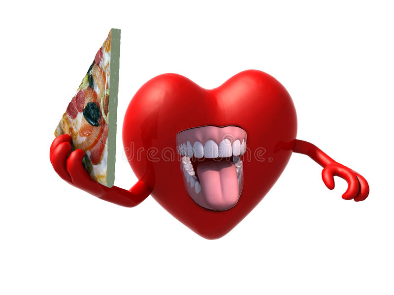 Serce z rękami, otwartym usta i plasterkiem pizza, royalty ilustracja
