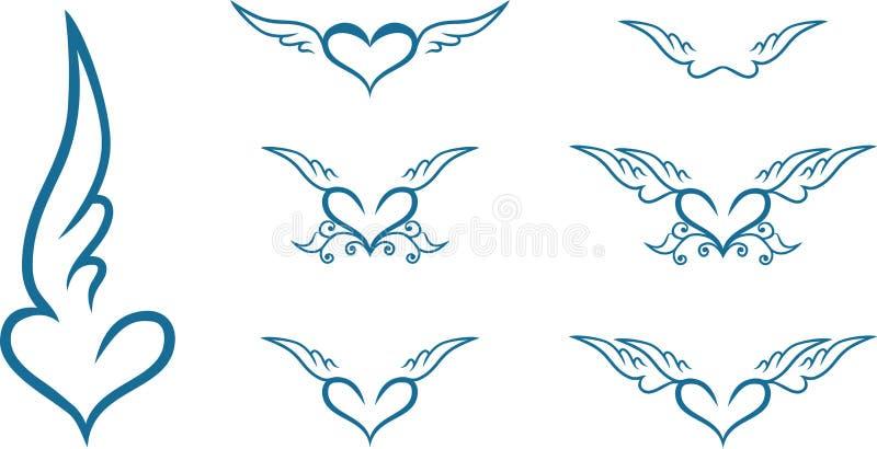 Serce z skrzydłami royalty ilustracja