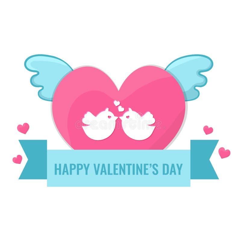 Serce z skrzydłami i lovebirds royalty ilustracja
