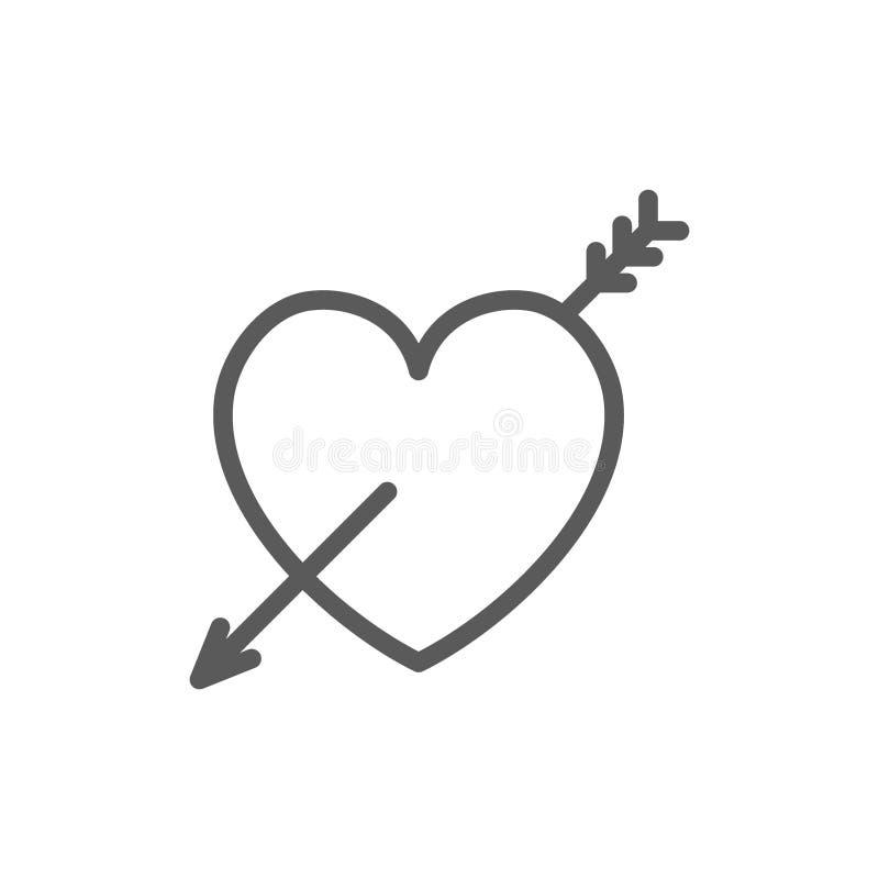 Serce z strzałą, walentynki kreskowa ikona ilustracji