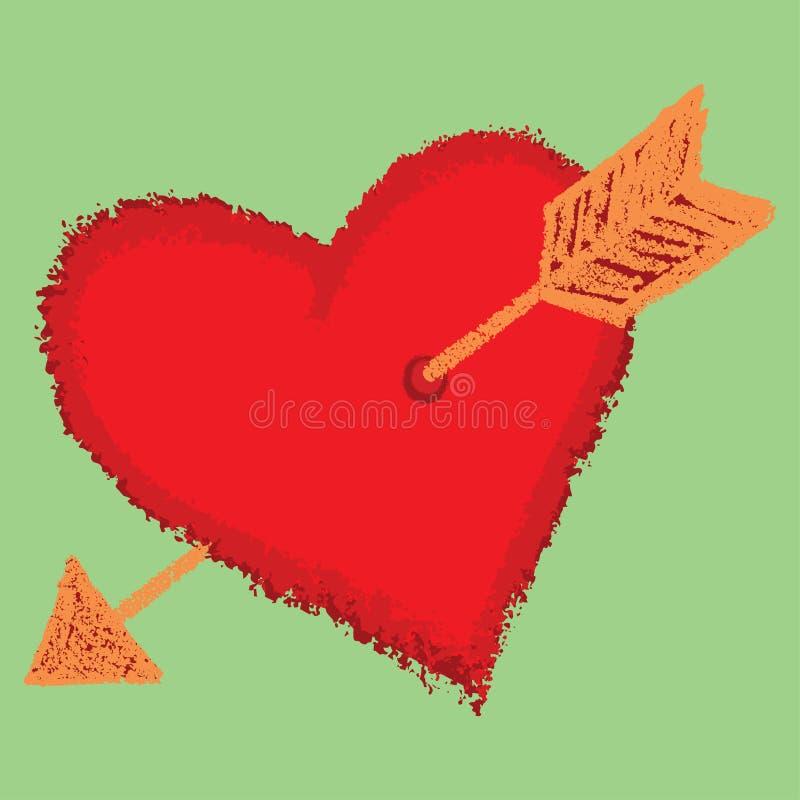 Serce z strzała ilustracja wektor