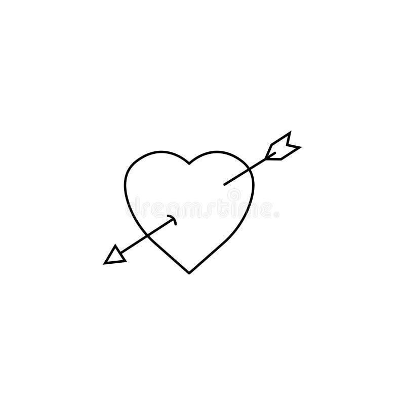 Serce z strzała linii ikoną, miłość szyldowe walentynki royalty ilustracja