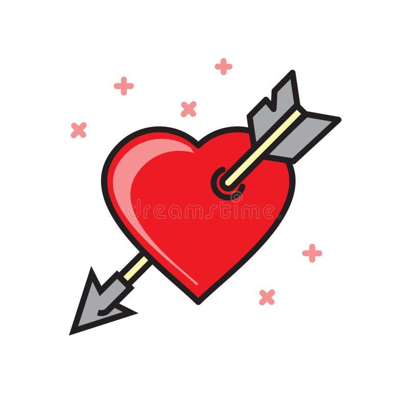 Serce z strzałkowatą ikoną na białym tle dla grafiki i sieci projekta, Nowożytny prosty wektoru znak kolor tła pojęcia, niebieski ilustracji