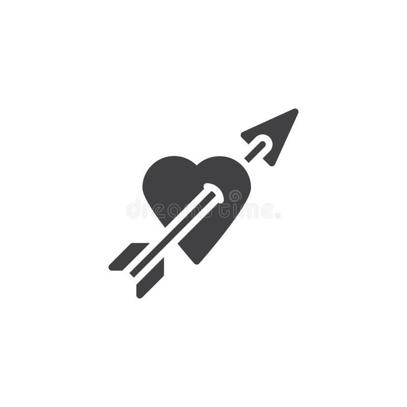 Serce z strzałkowatą wektorową ikoną ilustracji