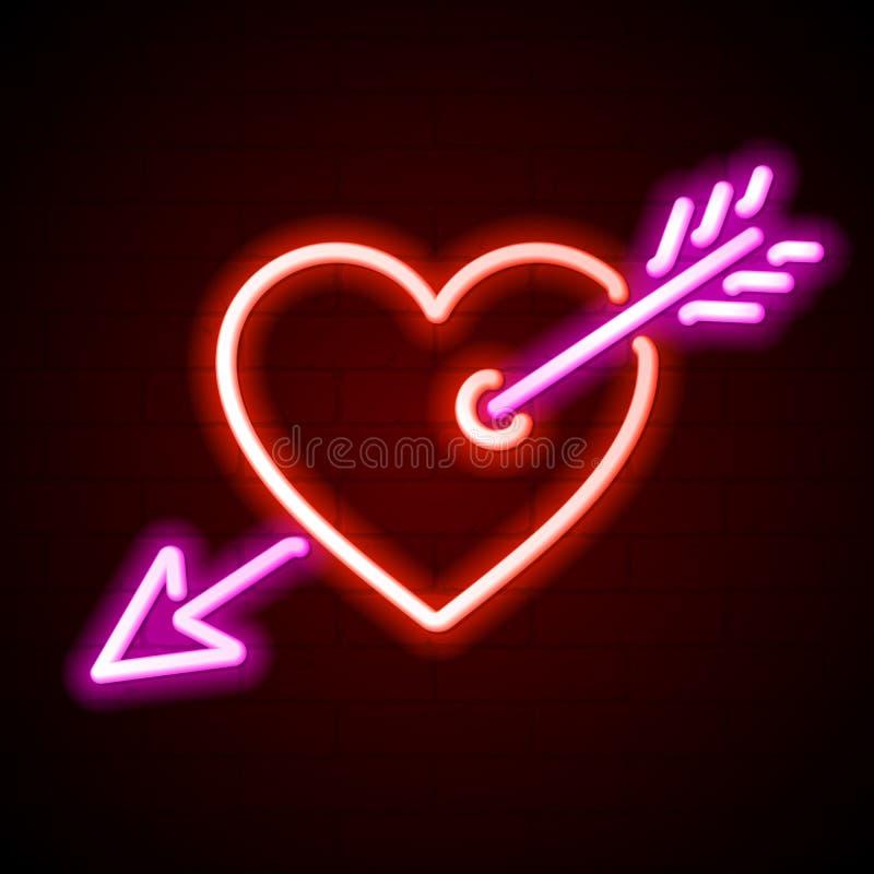 Serce z strzałkowatym neonowym znakiem royalty ilustracja