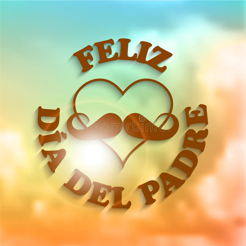 Serce z wąsy Feliz Dia Del Padre tekstem i ilustracja wektor