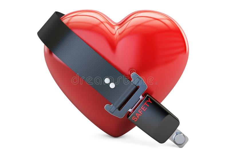 Serce z zbawczego paska, bezpieczeństwa i ubezpieczenia pojęciem, 3d ilustracji