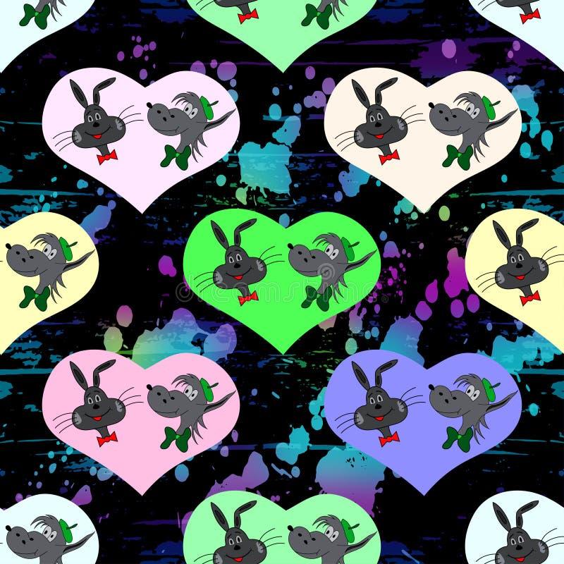 Serce zając i wilk na czarnego tła bezszwowej deseniowej wektorowej ilustraci ilustracji