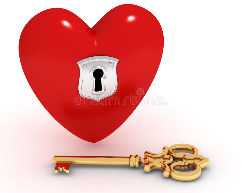 serce zamknięty klucz royalty ilustracja