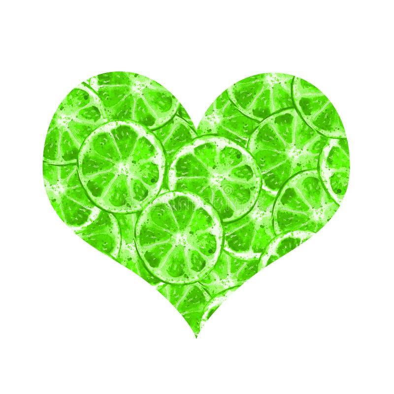 Serce zieleni wapno ilustracja wektor