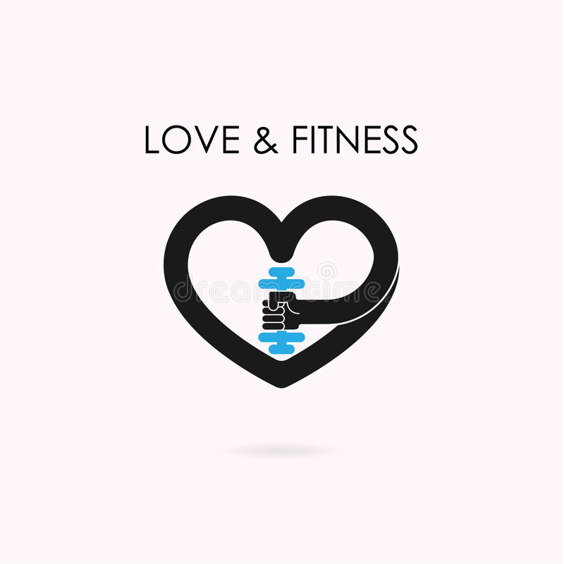 Serce znak i dumbbell ikona Sprawność fizyczna i gym logo Opieka zdrowotna, spo ilustracja wektor