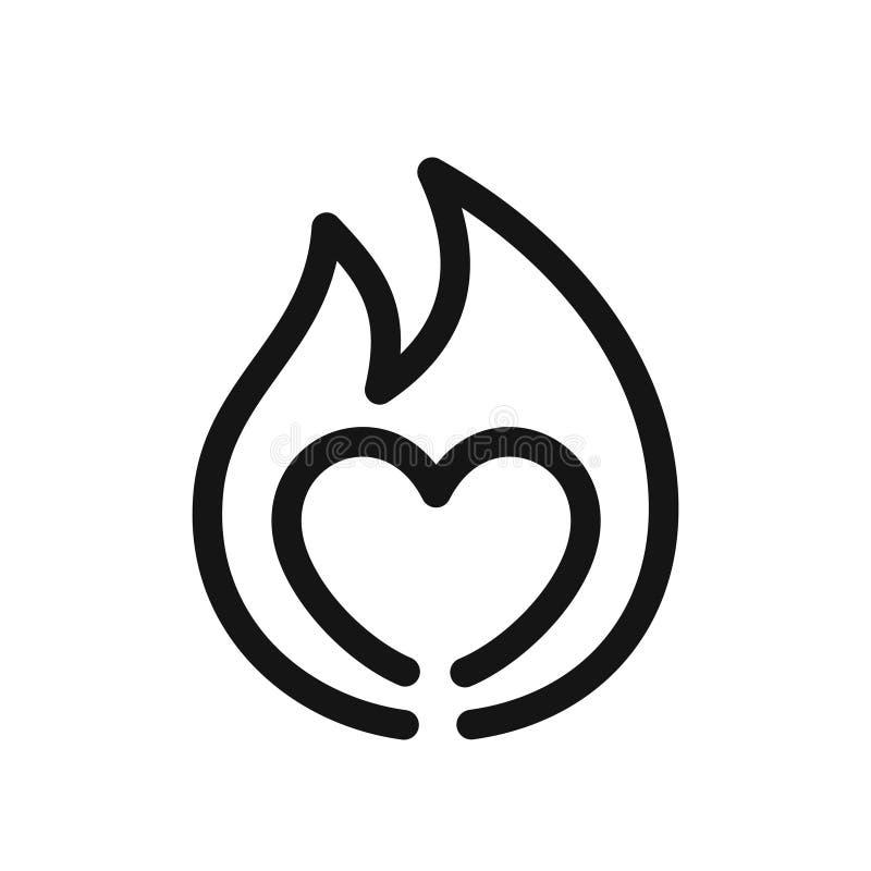 Serce znak na ogieniu, symbol pasja, prosta kreskowego stylu czerni ikona ilustracji