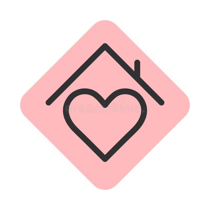 Serce znak z dach linii przełazu ikoną royalty ilustracja