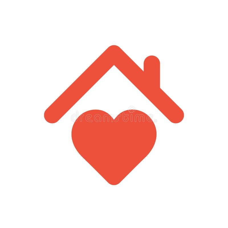 Serce znak z dachem, dom z kierową czerwoną ikoną, miłość domowy symbol ilustracja wektor