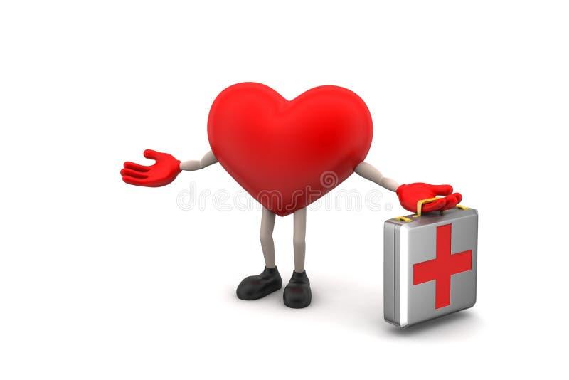 Serce znak z pierwszej pomocy pudełkiem royalty ilustracja
