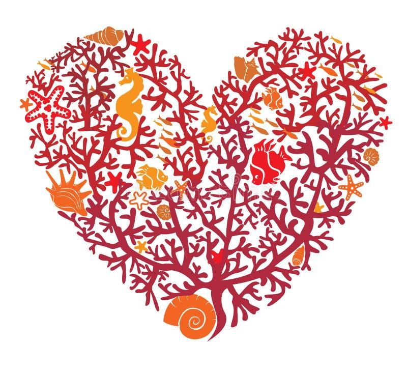Serce zrobi korale ilustracji