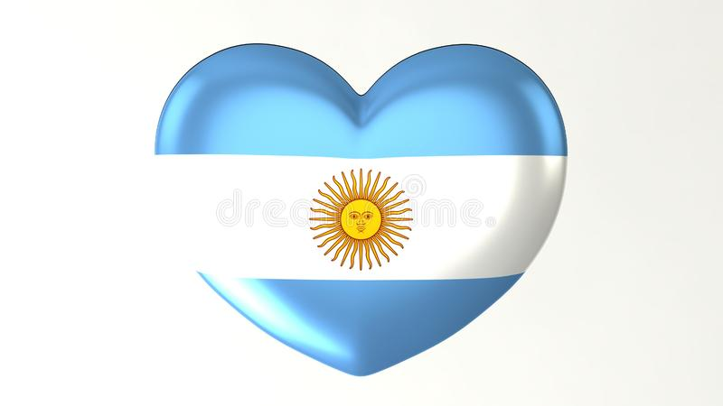 Sercowata flaga 3D ilustracja kocham Argentyna ilustracja wektor