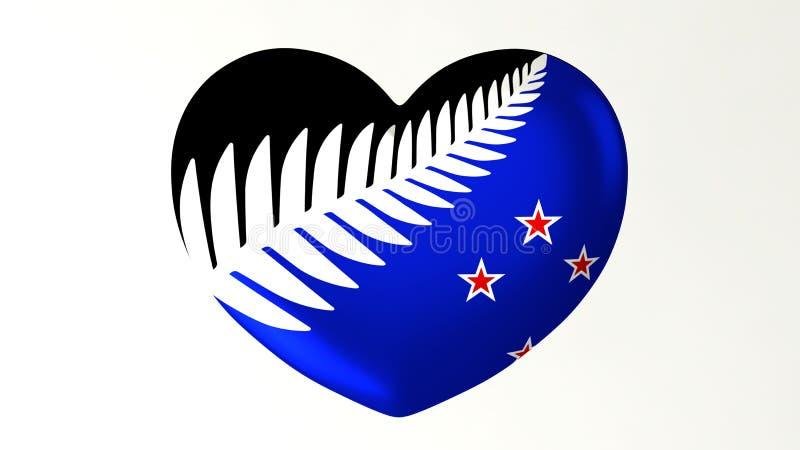 Sercowata flaga 3D ilustracja kocham Nowa Zelandia ilustracja wektor