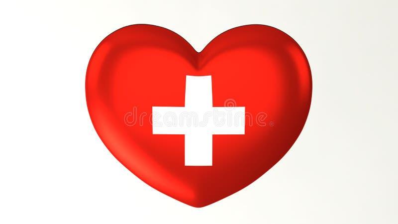 Sercowata flaga 3D ilustracja kocham Szwajcaria ilustracja wektor