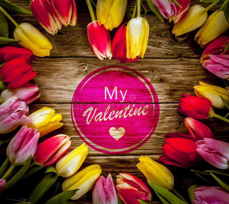 Sercowata tulipan rama dla walentynka dnia obraz stock
