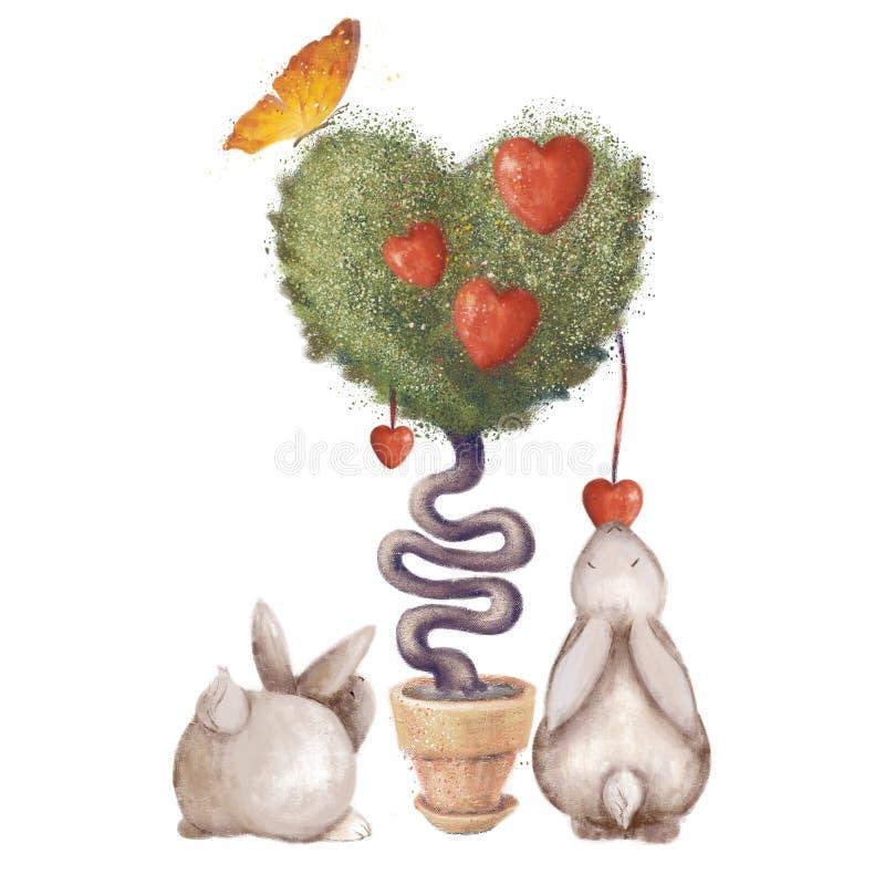Sercowaty drzewo z liśćmi i motylem śliczny dziecko królik jej mienia matki króliki Pojedyncza ilustracja odizolowywająca na biał zdjęcie stock
