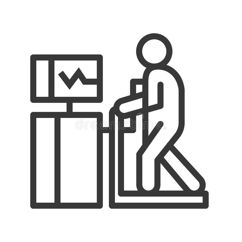 Sercowy stresu test, kontur ikony opieki zdrowotnej set ilustracji