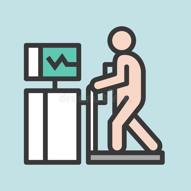 Sercowy stresu test, wypełniający kontur ikony medyczny set ilustracji