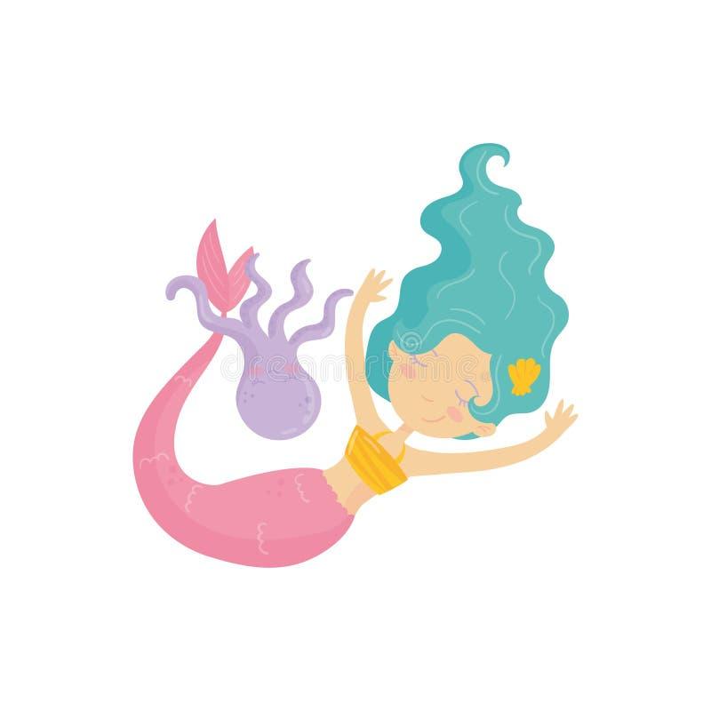 Sereia adorável com natação cor-de-rosa da cauda com polvo roxo Ninfa de água com cabelo de turquesa Criatura mítico da água ilustração stock