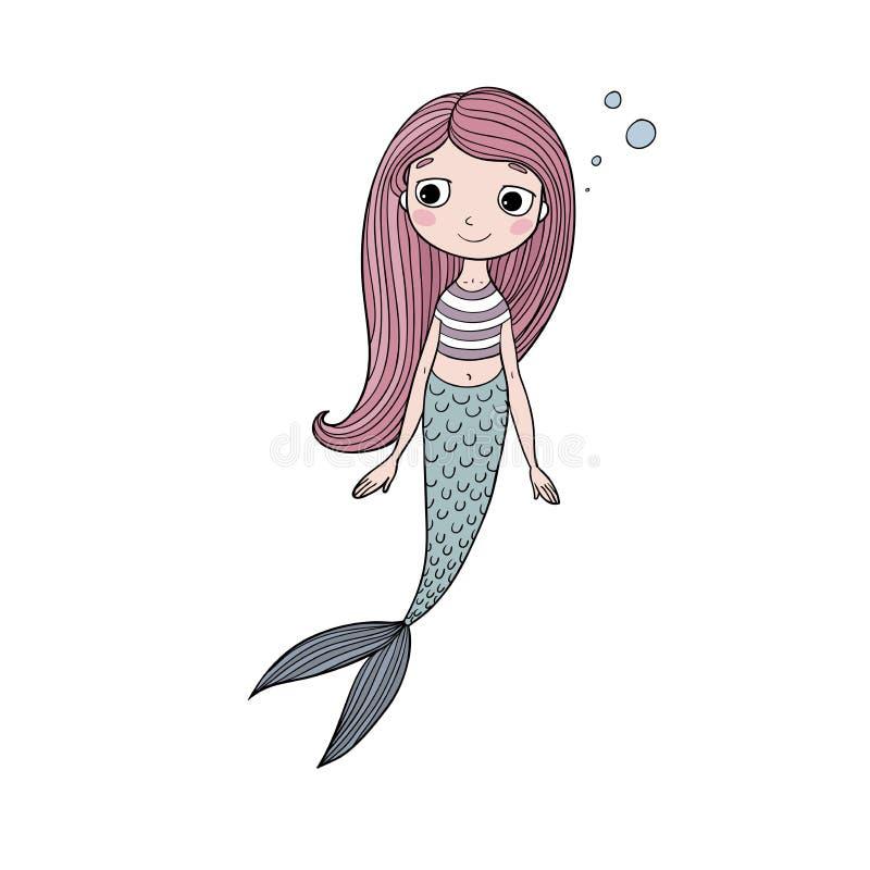 Sereia bonito bonita dos desenhos animados com cabelo longo Sirene Tema do mar ilustração royalty free