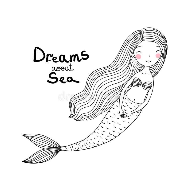 Sereia bonito bonita dos desenhos animados com cabelo longo Sirene Tema do mar ilustração stock