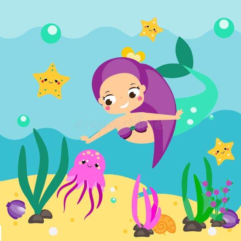 Sereia bonito dos desenhos animados que explora o mundo subaquático ilustração stock
