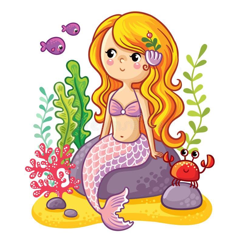 Sereia bonito dos desenhos animados que senta-se em uma rocha ilustração do vetor