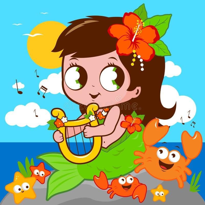 Sereia bonito pelo mar que joga a música com sua lira ilustração royalty free