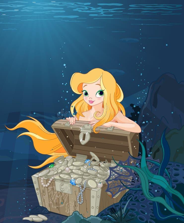 Sereia bonito sobre uma arca do tesouro ilustração stock