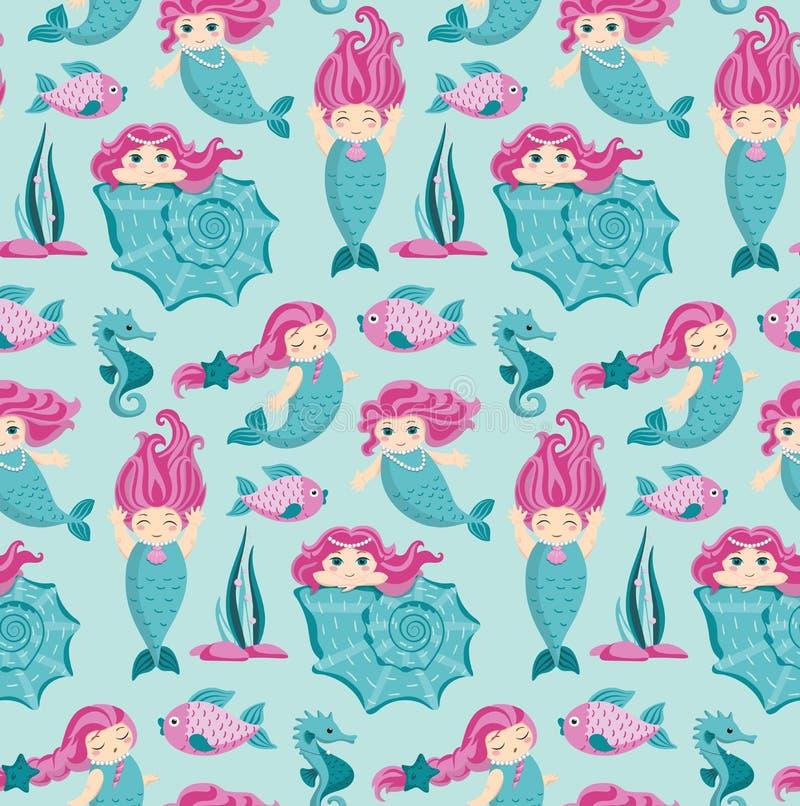 A sereia com cabelo cor-de-rosa, vector o teste padrão sem emenda ilustração stock