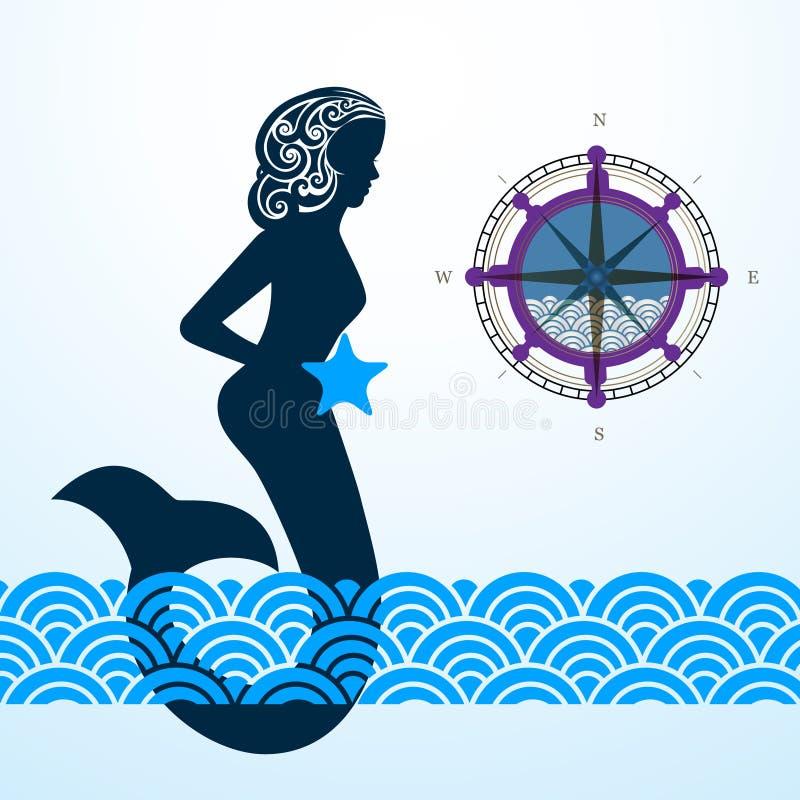 Sereia com ondas do compasso ilustração stock