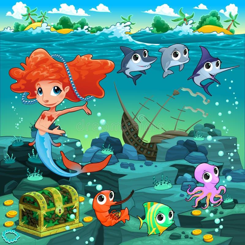 Sereia com os animais engraçados no assoalho de mar ilustração royalty free