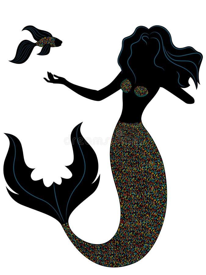 Sereia com peixes ilustração stock