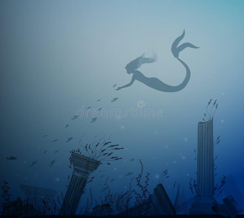 Sereia com peixes e parte inferior de mar com coluna, conto de fadas de Andersen, ilustração stock